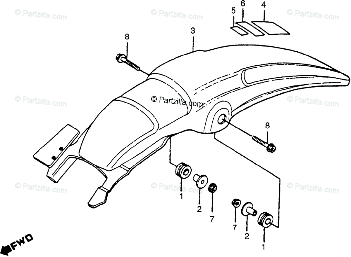 Honda Motorcycle 1980 OEM Parts Diagram for Rear Fender