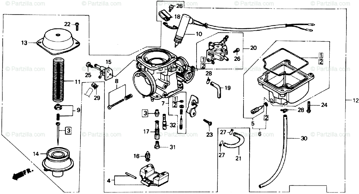 Honda Scooter 1985 OEM Parts Diagram for Carburetor