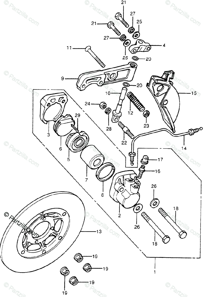 Honda Motorcycle 1977 OEM Parts Diagram for Front Brake