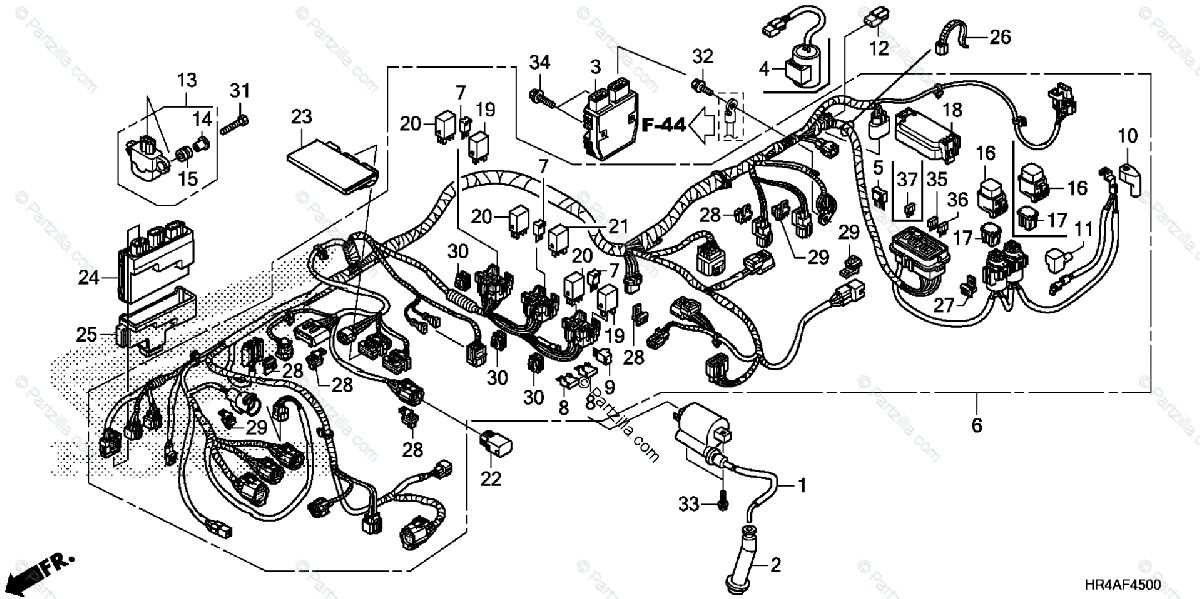 Honda ATV 2016 OEM Parts Diagram for Wire Harness
