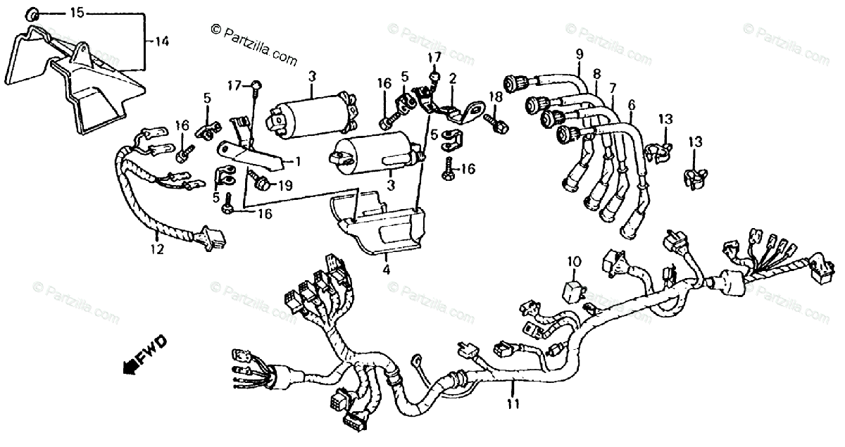 Honda Motorcycle 1984 OEM Parts Diagram for Wire Harness