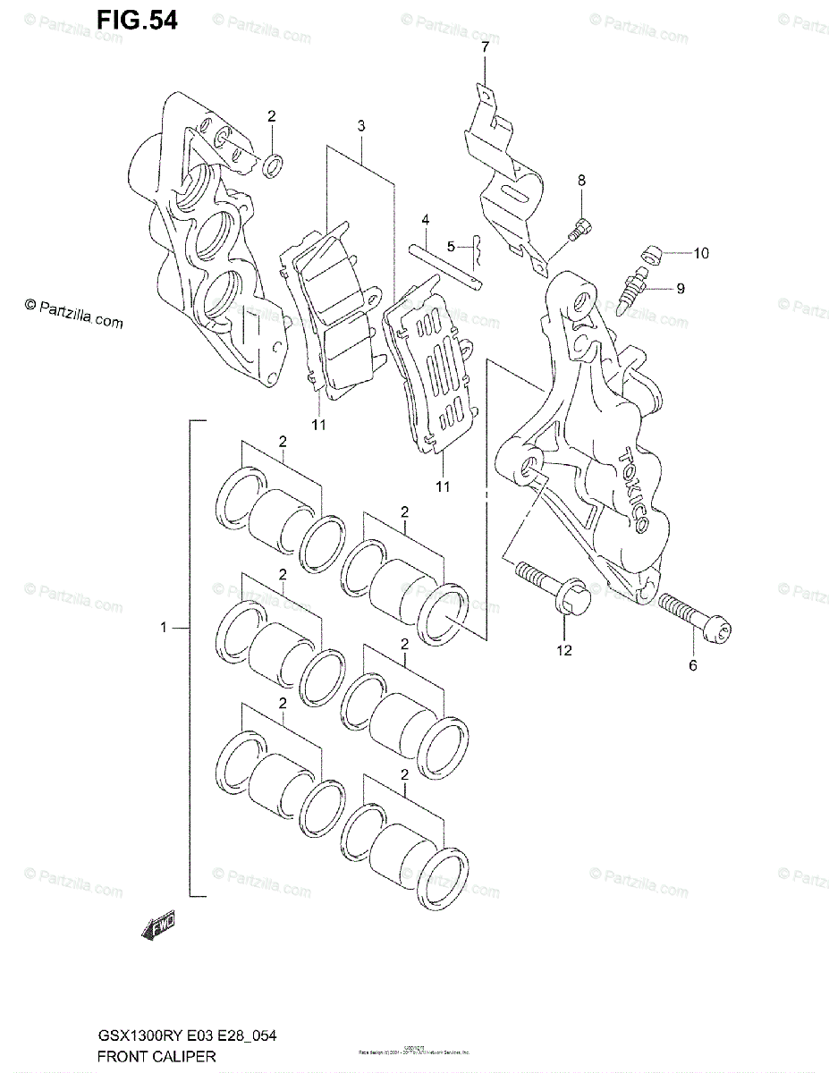 Suzuki Motorcycle 2001 OEM Parts Diagram for FRONT