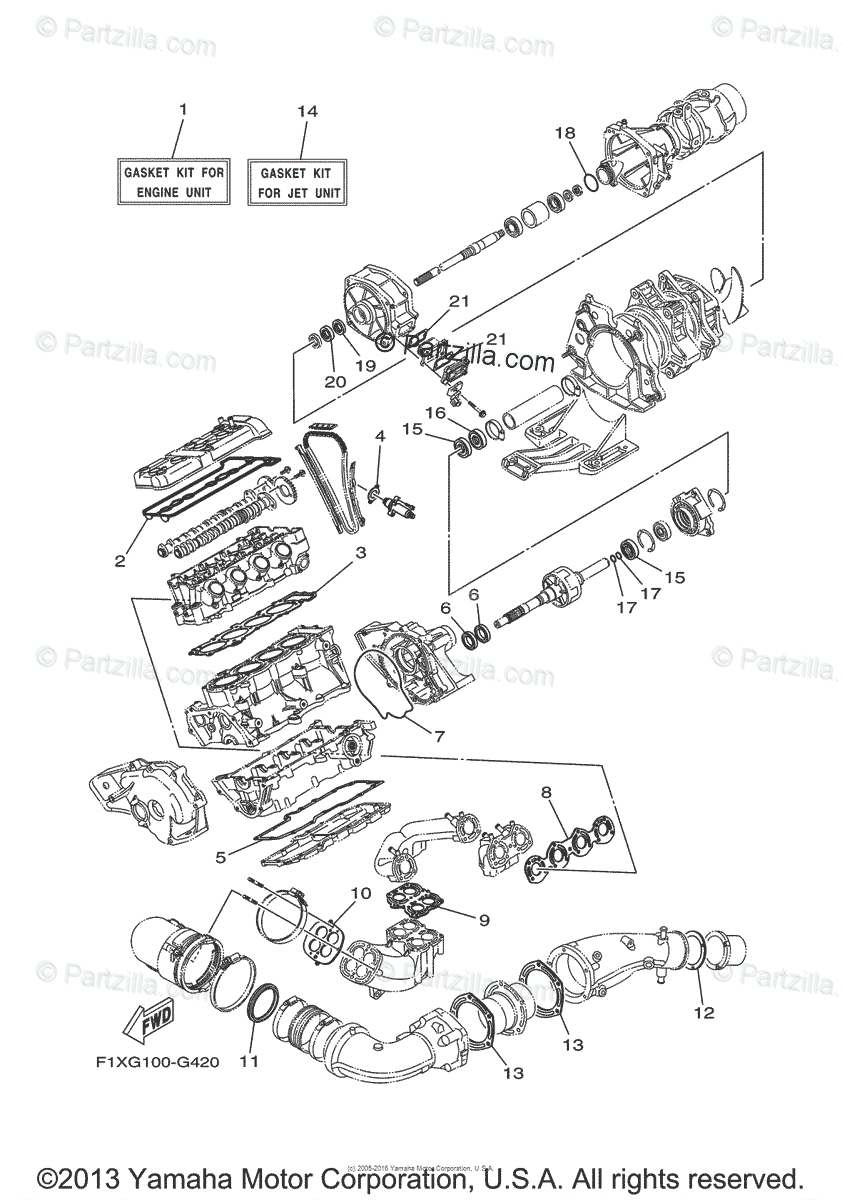 Yamaha Waverunner 2008 OEM Parts Diagram for REPAIR KIT 2