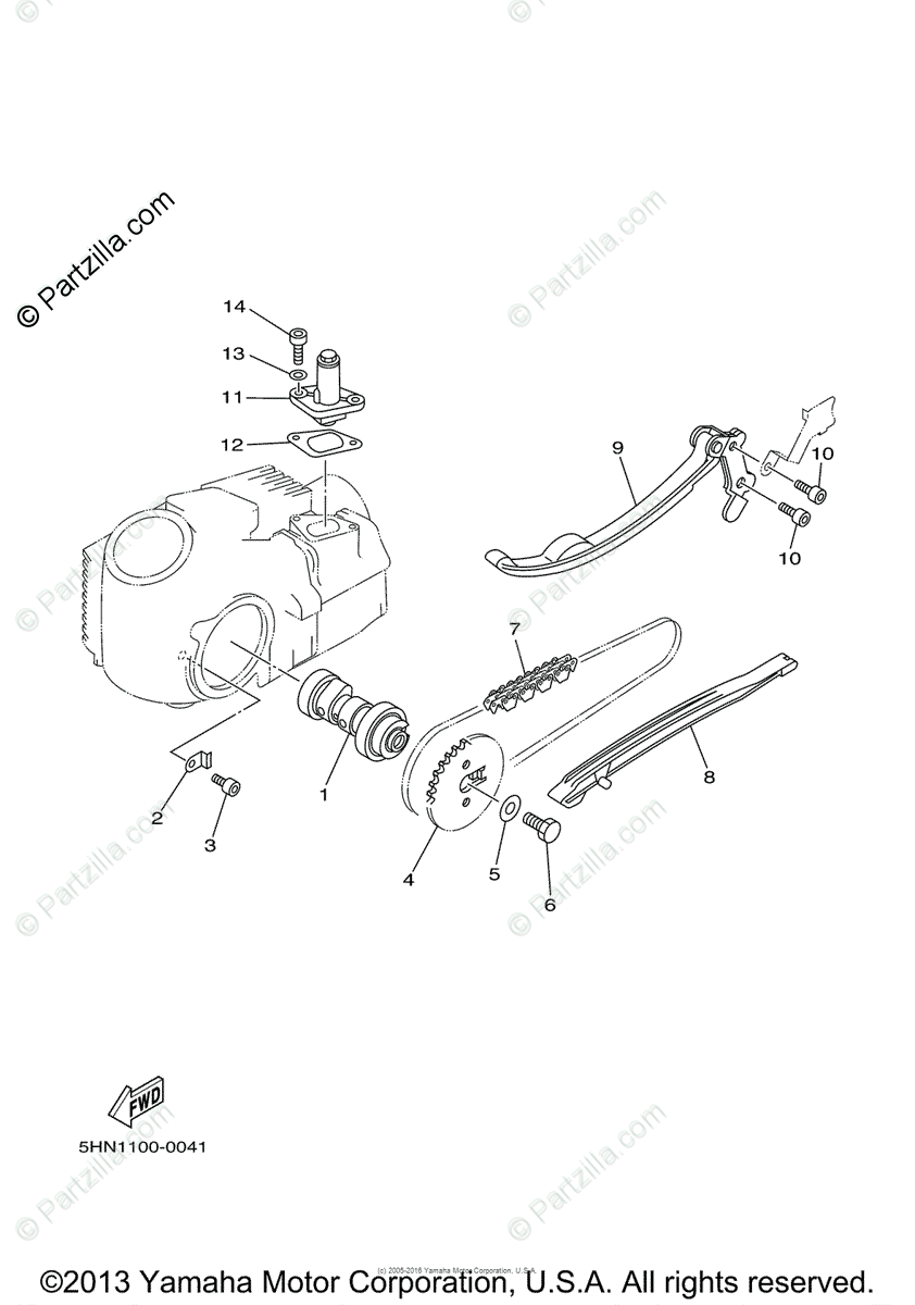 Yamaha Motorcycle 2005 OEM Parts Diagram for Camshaft