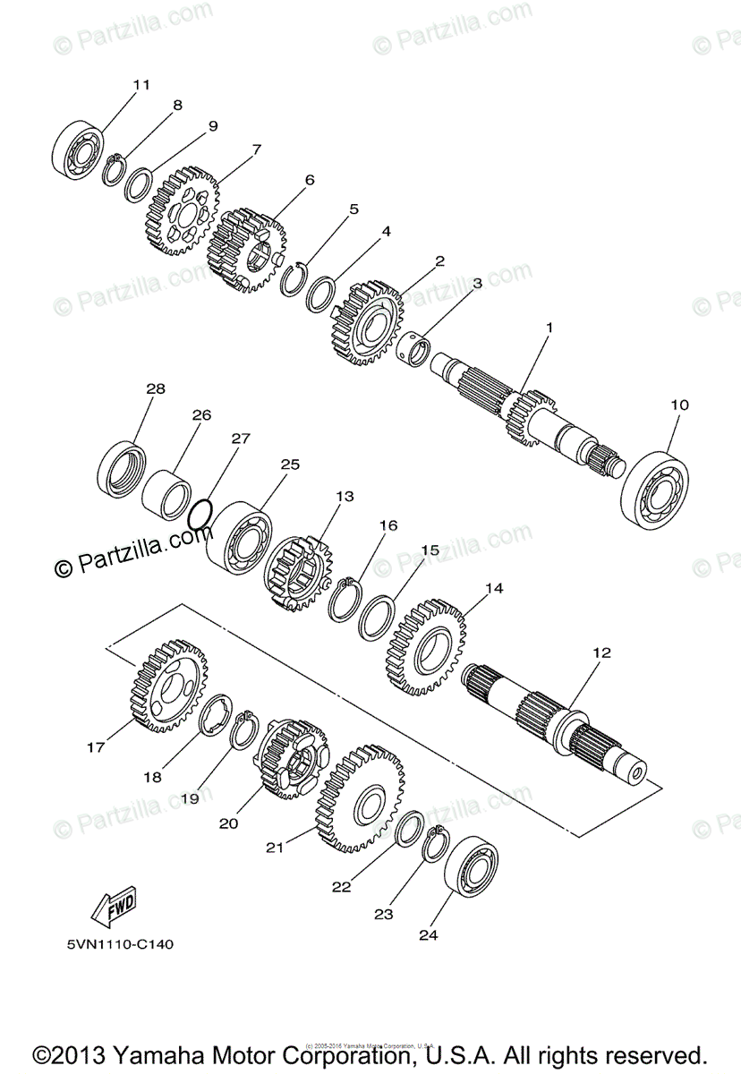 Yamaha Motorcycle 2004 OEM Parts Diagram for Transmission