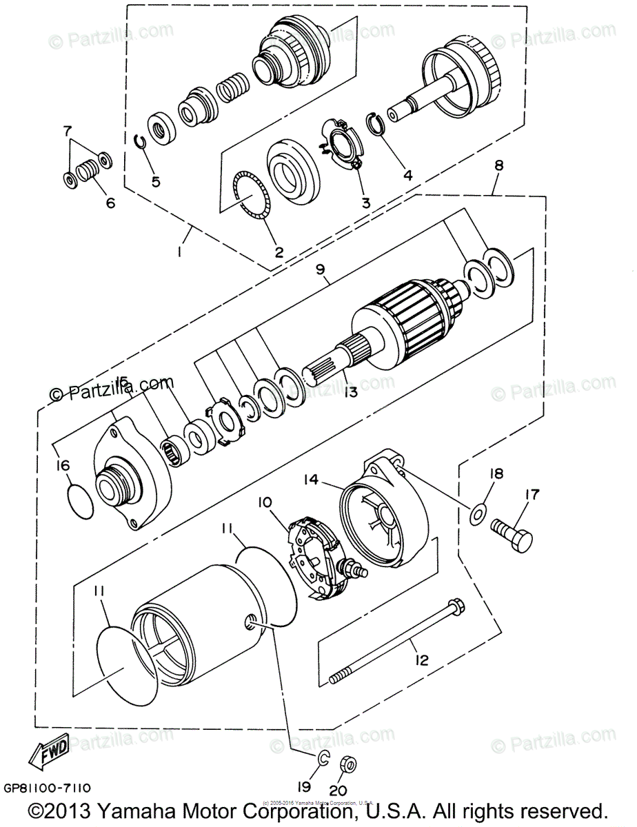 Yamaha Waverunner 1999 OEM Parts Diagram for Starting
