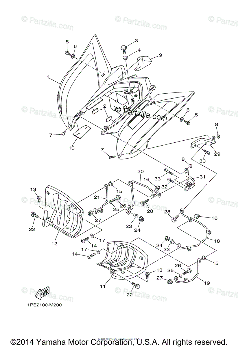 Yamaha ATV 2013 OEM Parts Diagram for Rear Fender