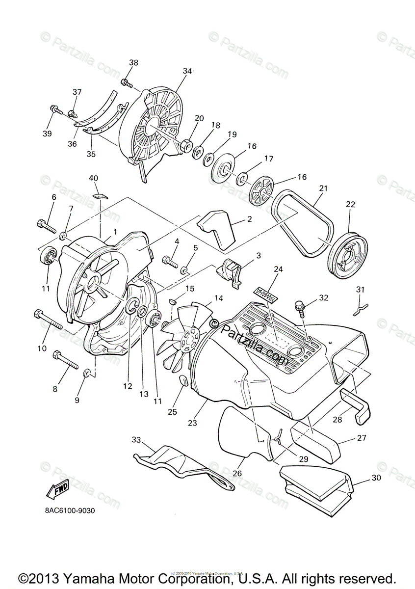 Yamaha Snowmobile 2005 OEM Parts Diagram for Air Shroud