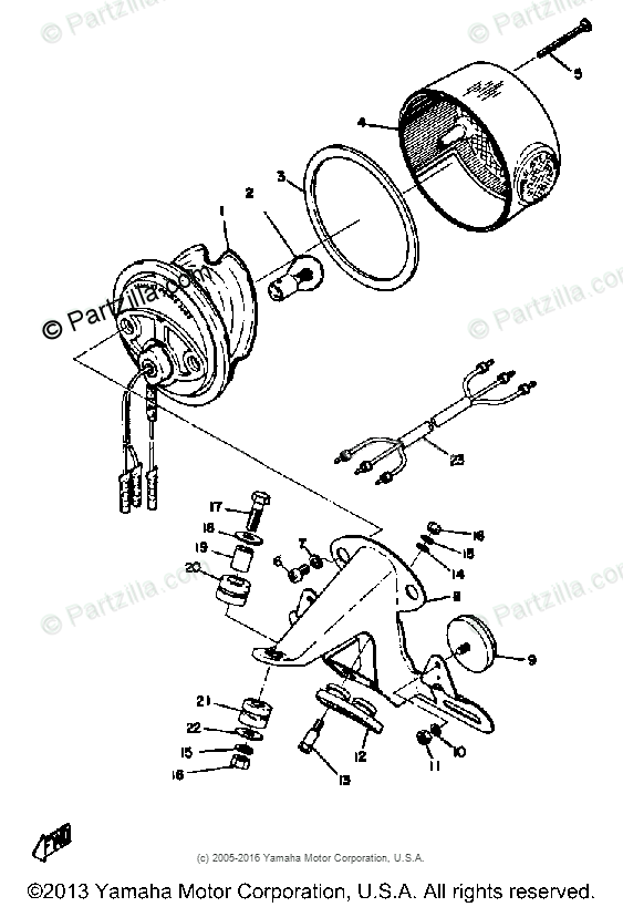 Yamaha Motorcycle 1972 OEM Parts Diagram for Taillight