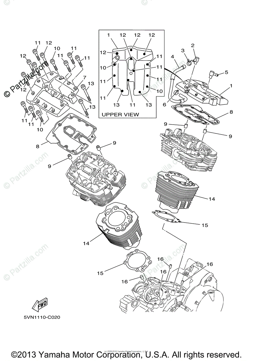 Yamaha Motorcycle 2004 OEM Parts Diagram for Cylinder