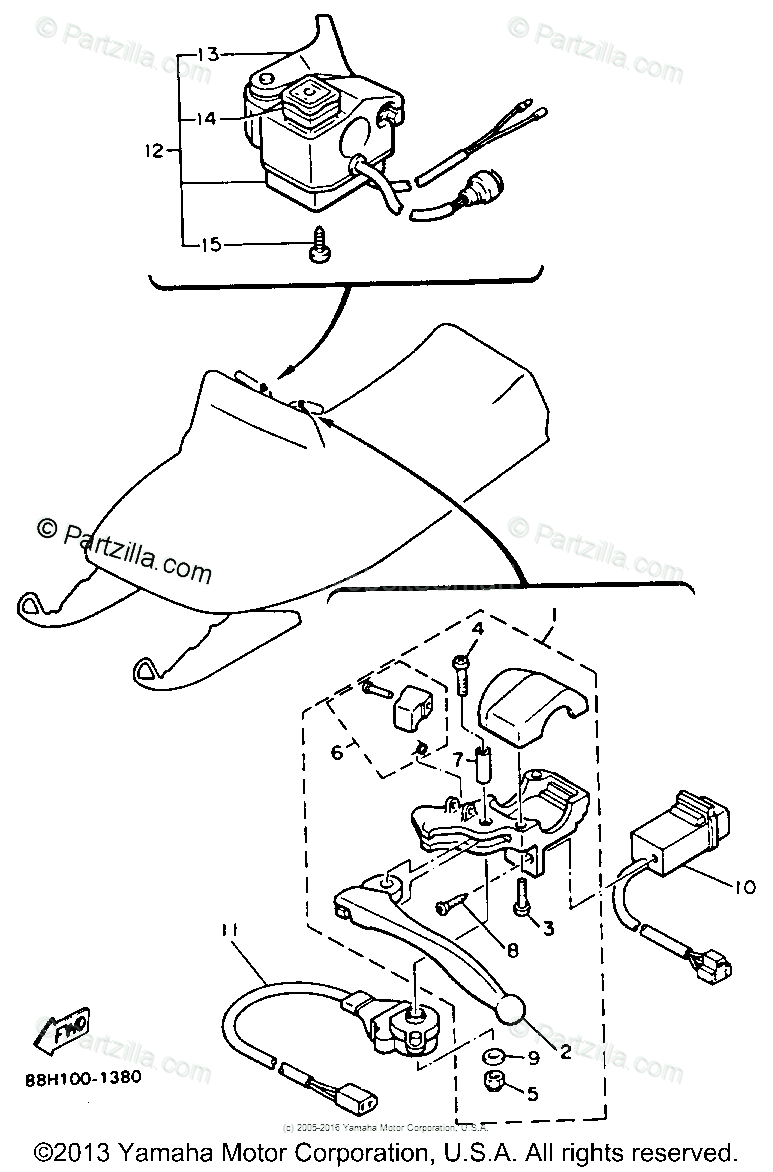 Yamaha Snowmobile 1991 OEM Parts Diagram for Electrical