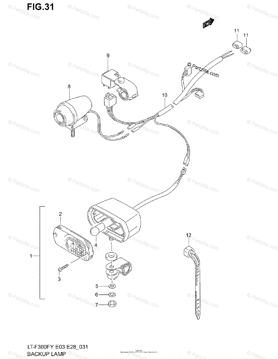 Suzuki ATV 1999 OEM Parts Diagram for BACKUP LAMP