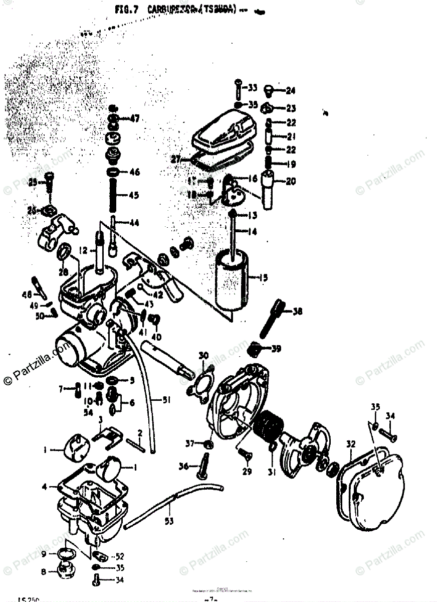 Suzuki Motorcycle 1976 OEM Parts Diagram for CARBURETOR