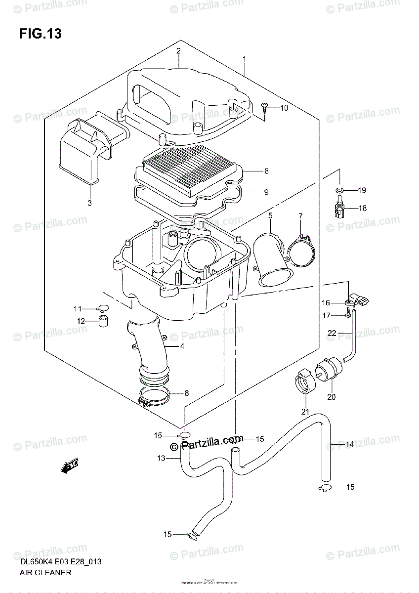 Suzuki Motorcycle 2005 OEM Parts Diagram for Air Cleaner