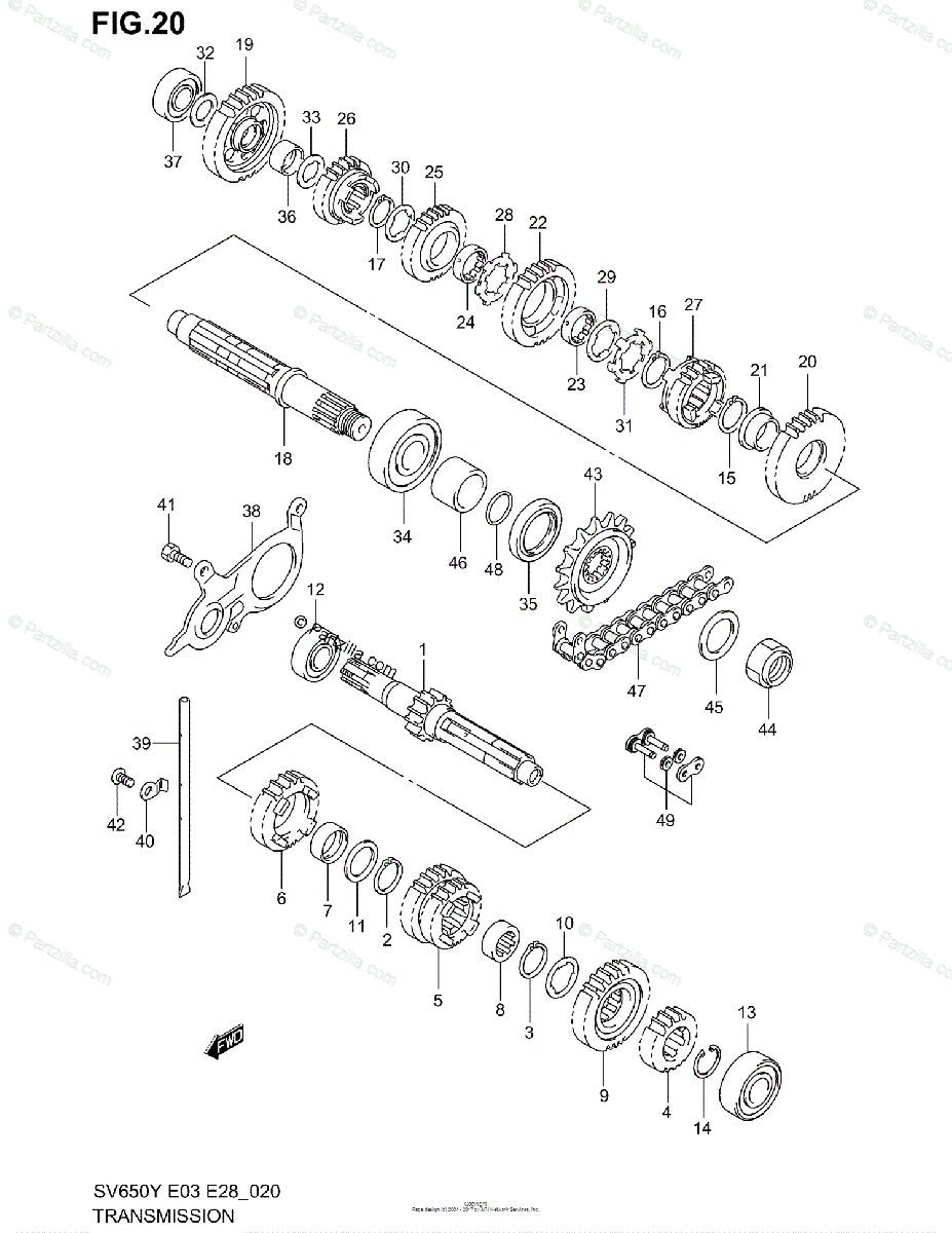 Suzuki Motorcycle 2001 OEM Parts Diagram for Transmission