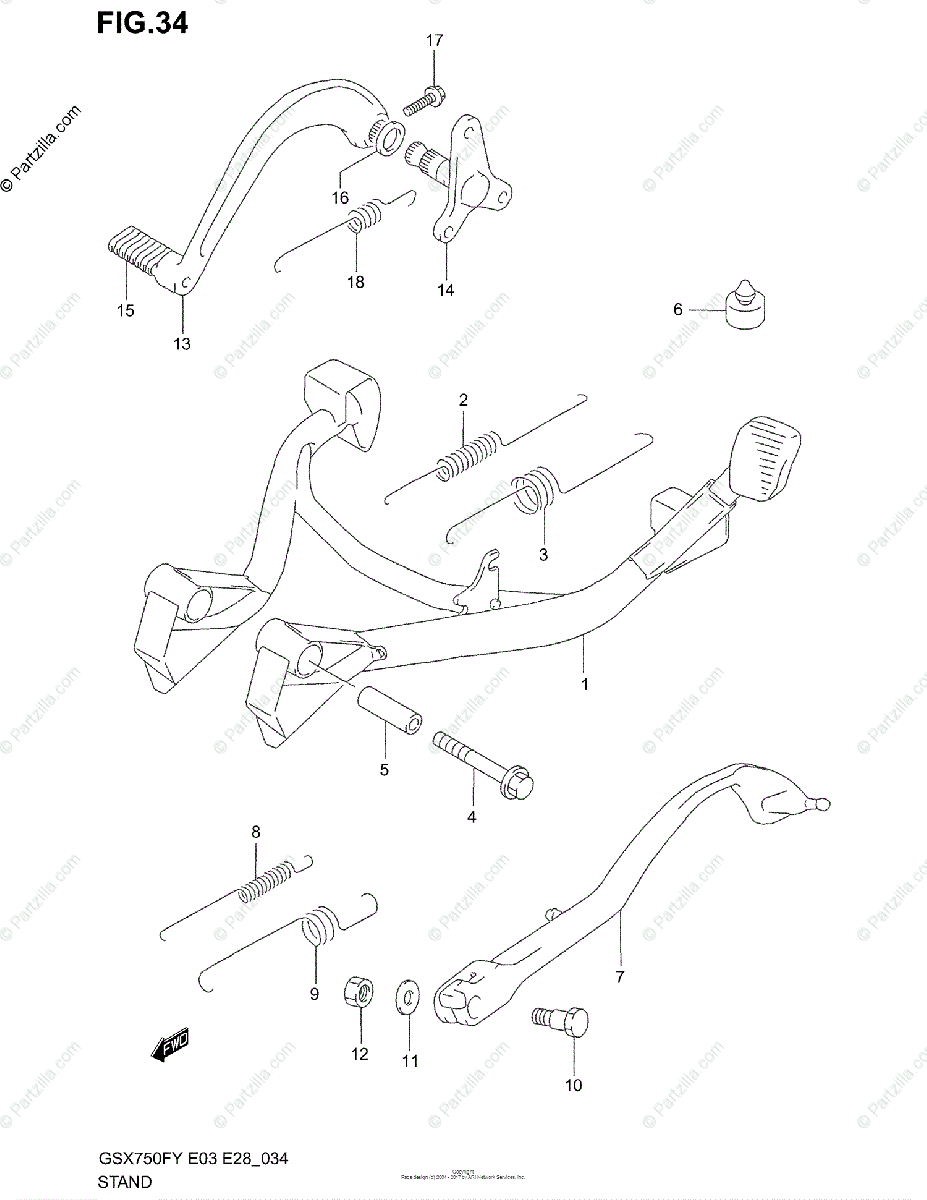 Suzuki Motorcycle 2000 OEM Parts Diagram for Stand