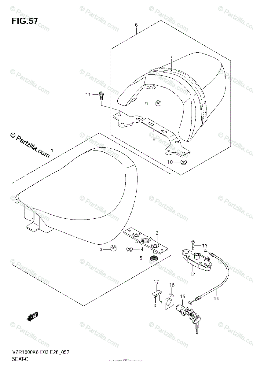 Suzuki Motorcycle 2008 OEM Parts Diagram for SEAT (VZR1800