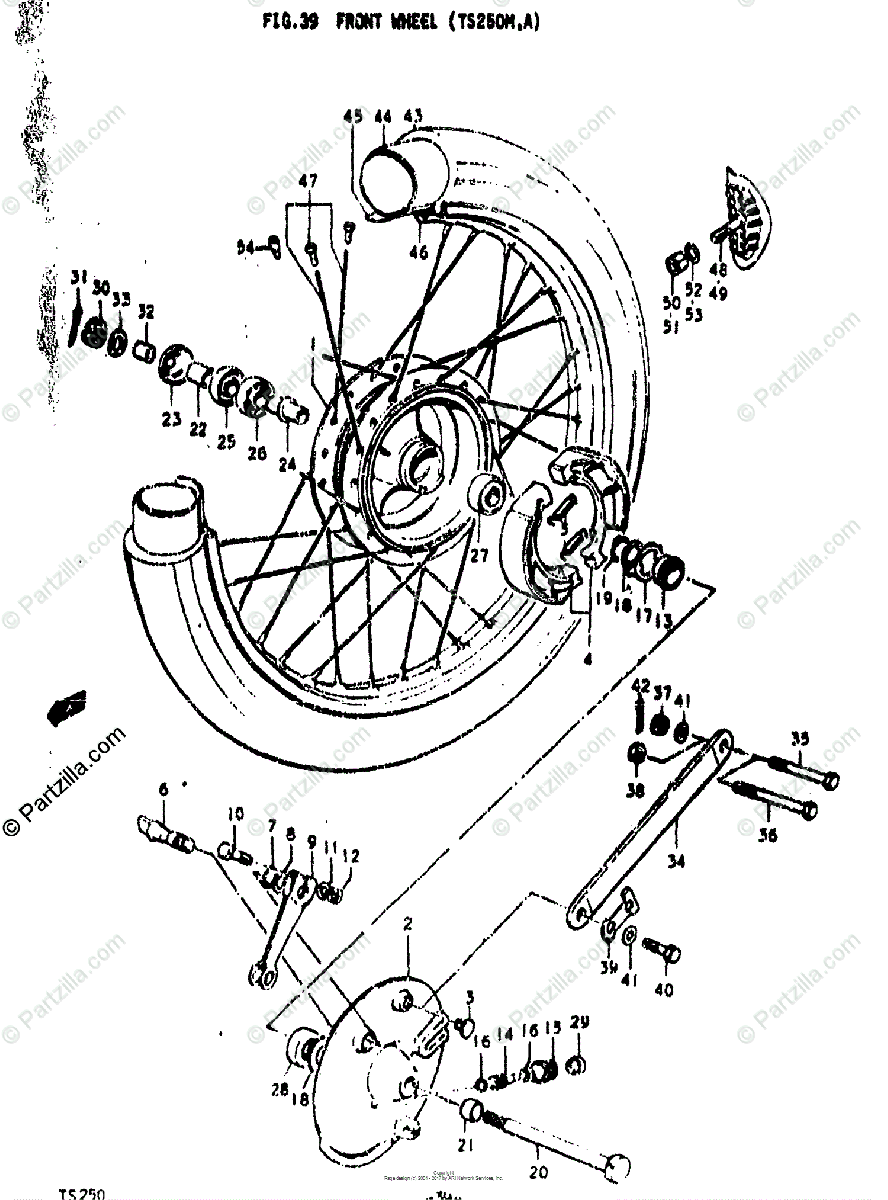 Suzuki Motorcycle 1974 OEM Parts Diagram for FRONT WHEEL