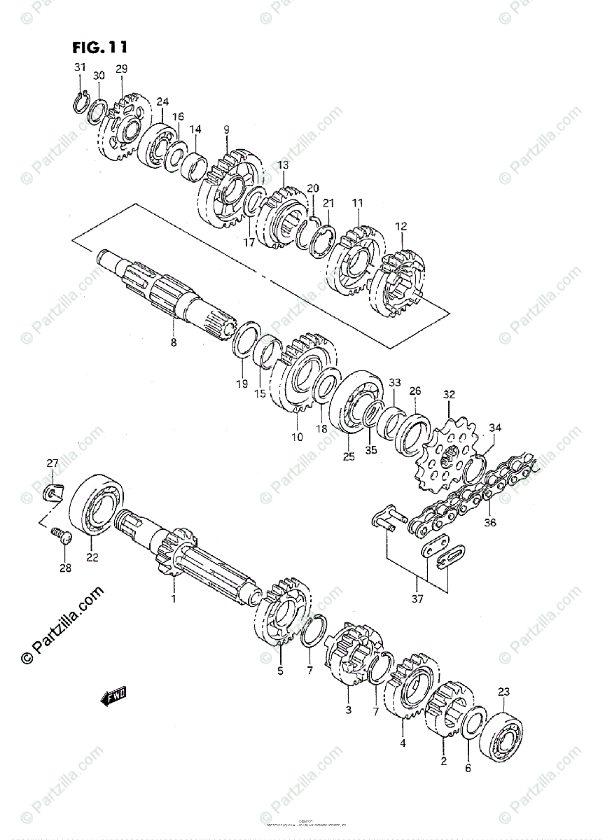 Suzuki Motorcycle 1989 OEM Parts Diagram for Transmission