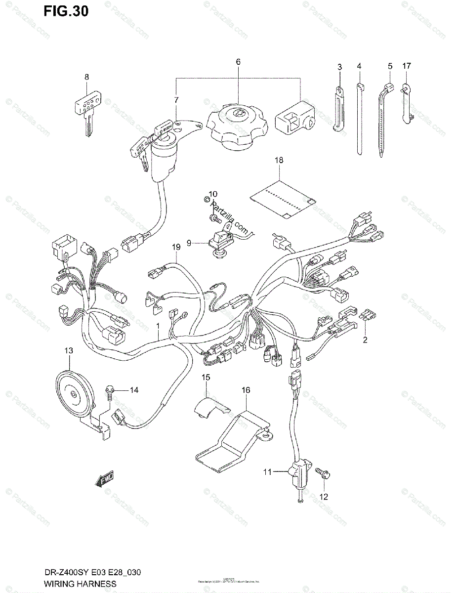 Suzuki Motorcycle 2000 OEM Parts Diagram for Wiring