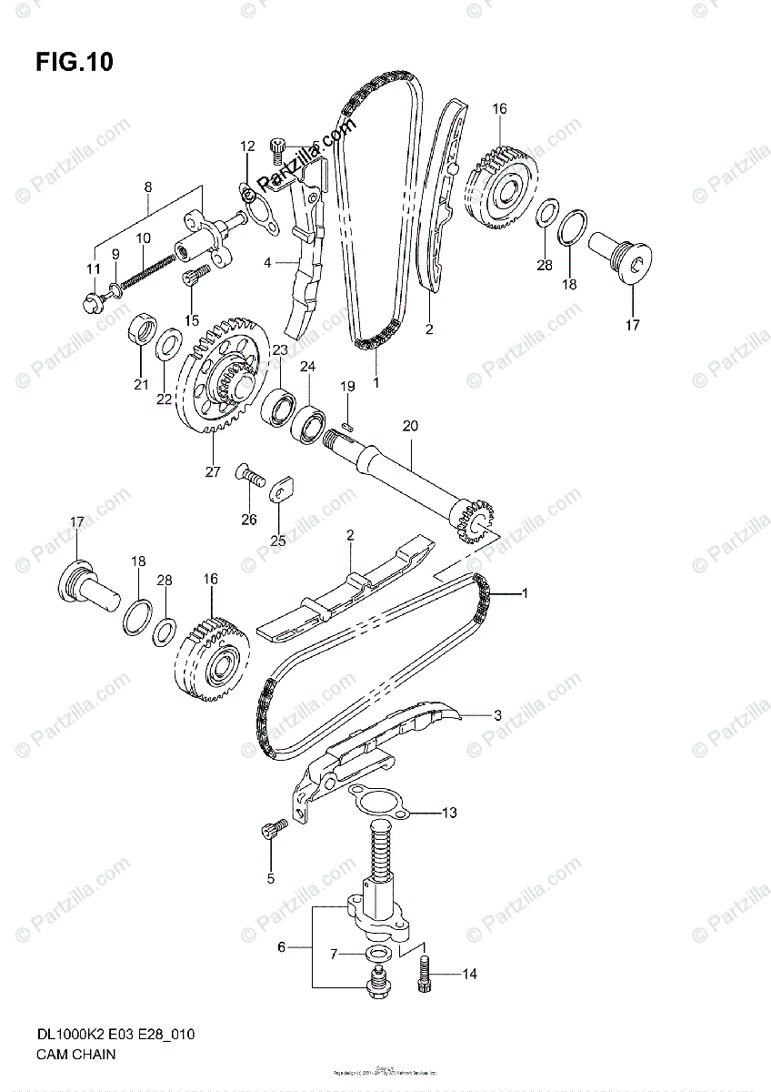 Suzuki Motorcycle 2004 OEM Parts Diagram for Cam Chain