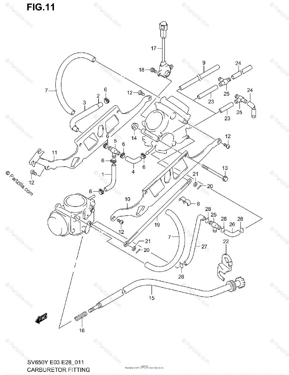 Suzuki Motorcycle 2001 OEM Parts Diagram for CARBURETOR