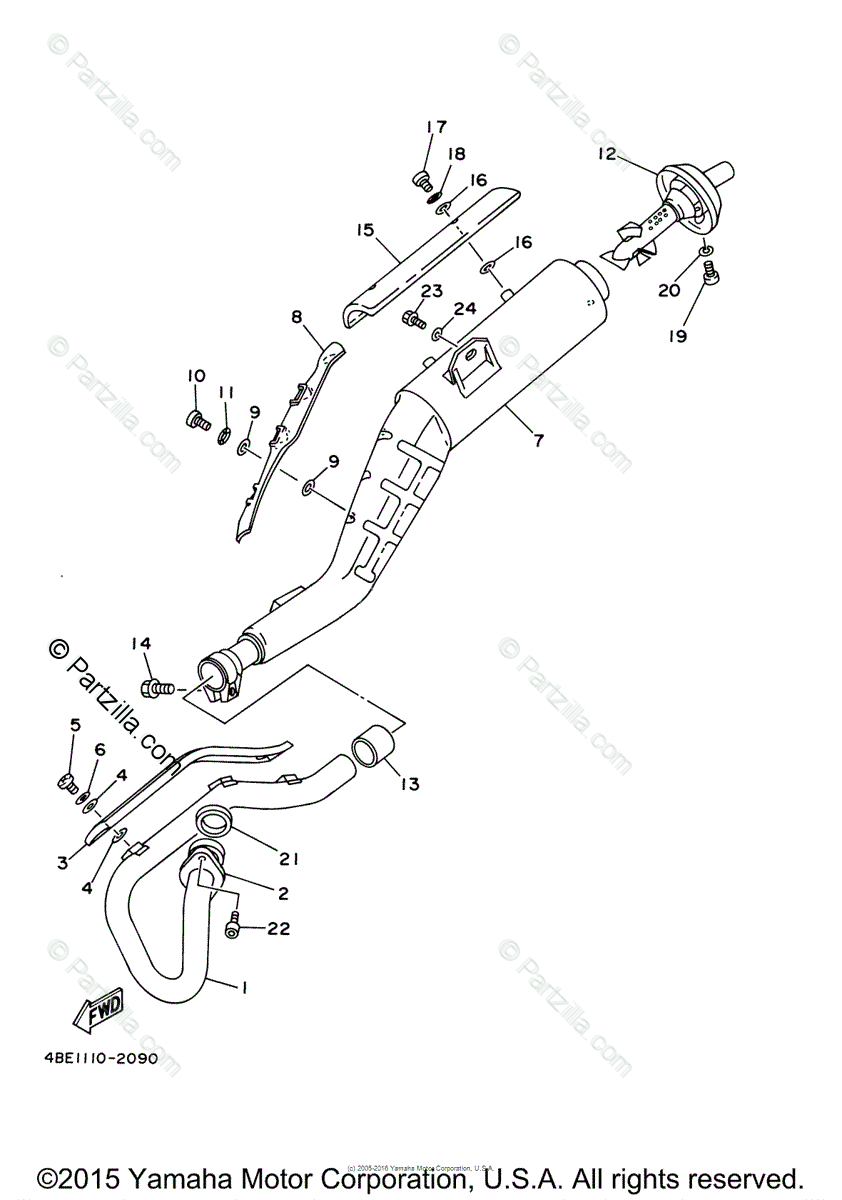 Yamaha Motorcycle 2004 OEM Parts Diagram for Exhaust