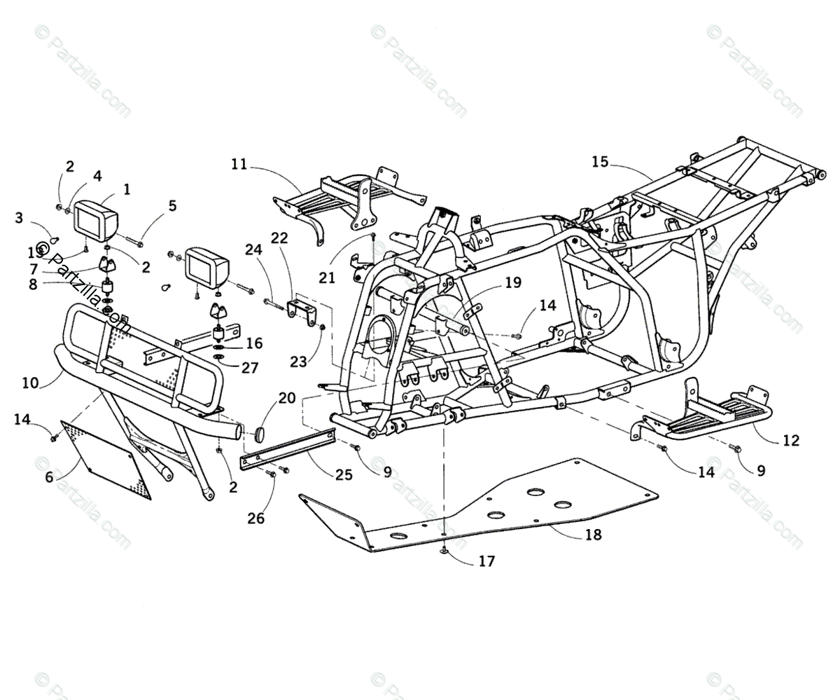 Arctic Cat ATV 2001 OEM Parts Diagram for Frame And