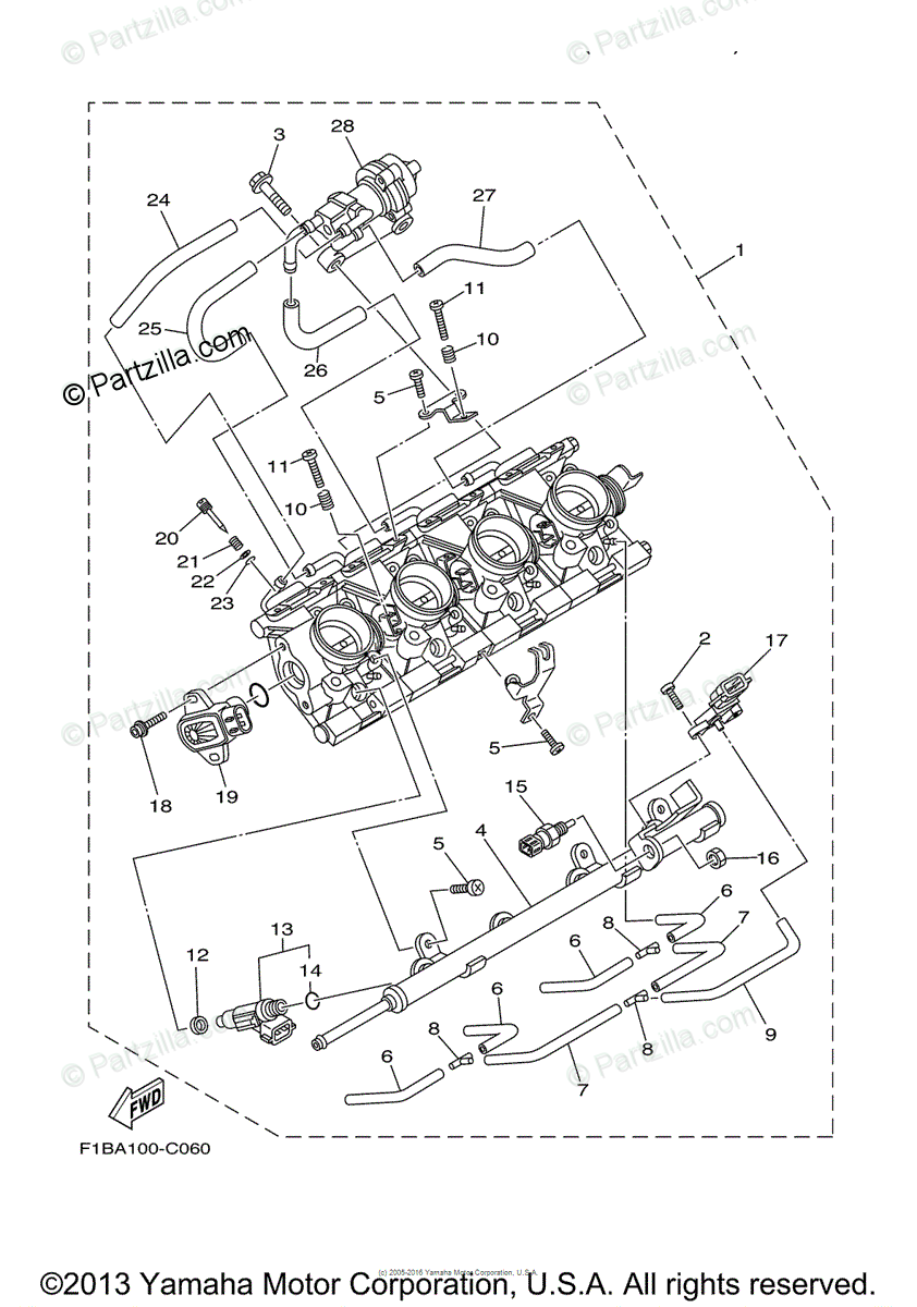 Yamaha Waverunner 2004 OEM Parts Diagram for INJECTION