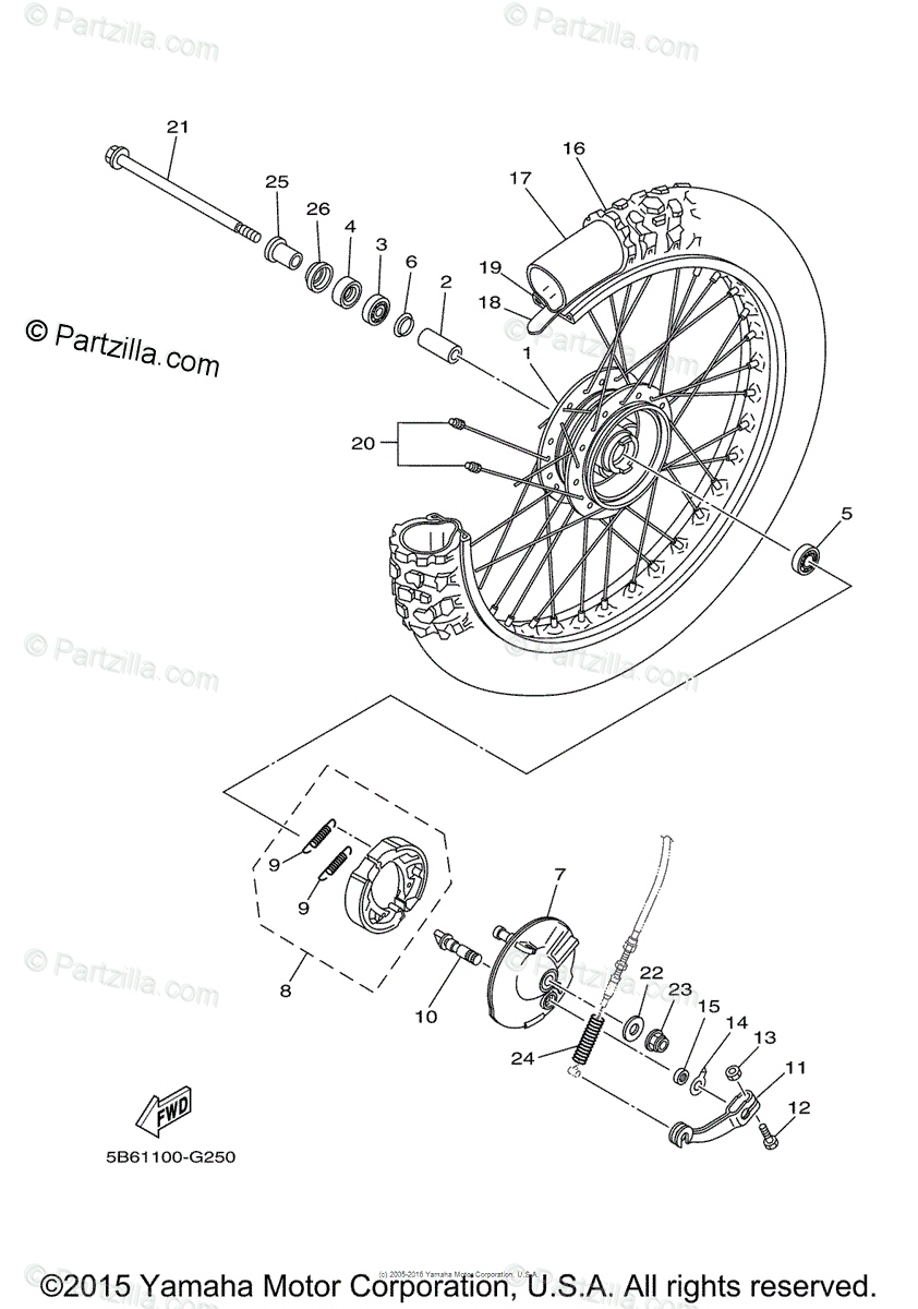 Yamaha Motorcycle 2012 OEM Parts Diagram for Front Wheel