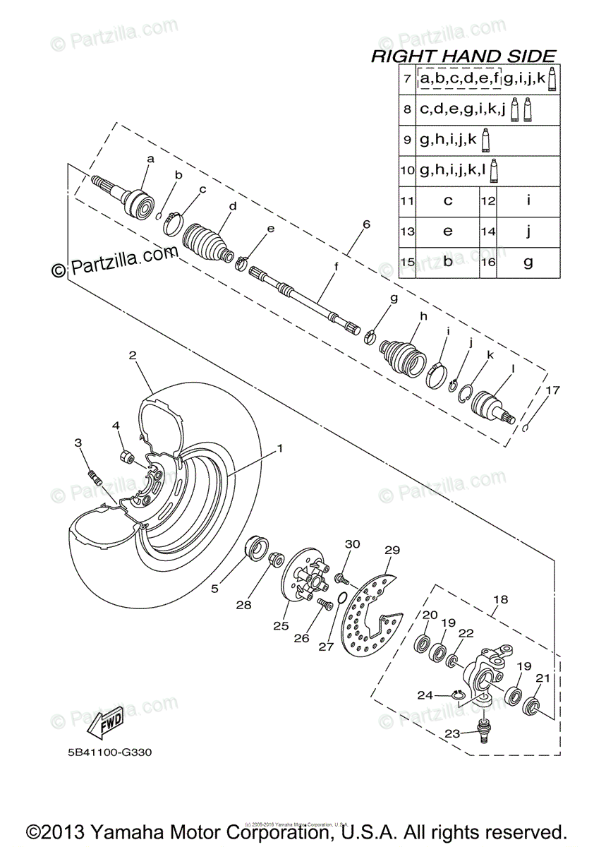 Yamaha Side by Side 2008 OEM Parts Diagram for Front Wheel