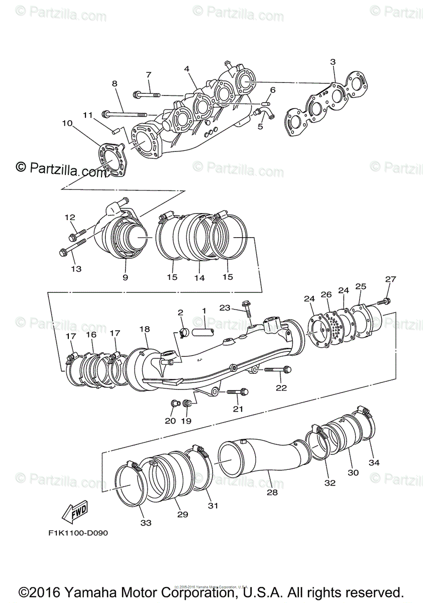 Yamaha Waverunner 2007 OEM Parts Diagram for Exhaust (1