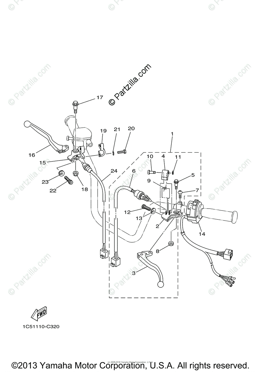 Yamaha ATV 2008 OEM Parts Diagram for Handle Switch-Lever