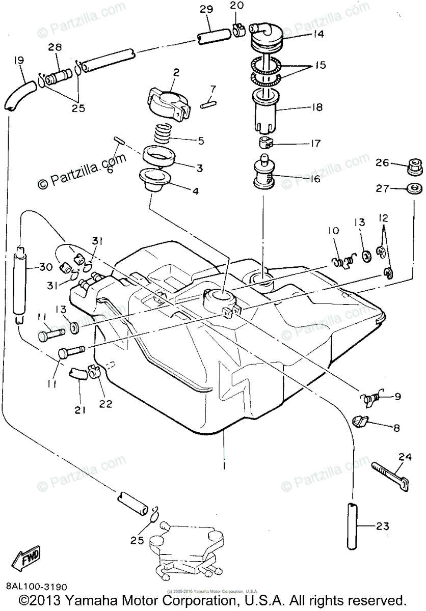 Yamaha Snowmobile 1994 OEM Parts Diagram for FUEL TANK
