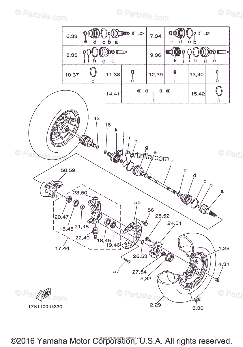 Yamaha ATV 2012 OEM Parts Diagram for Front Wheel