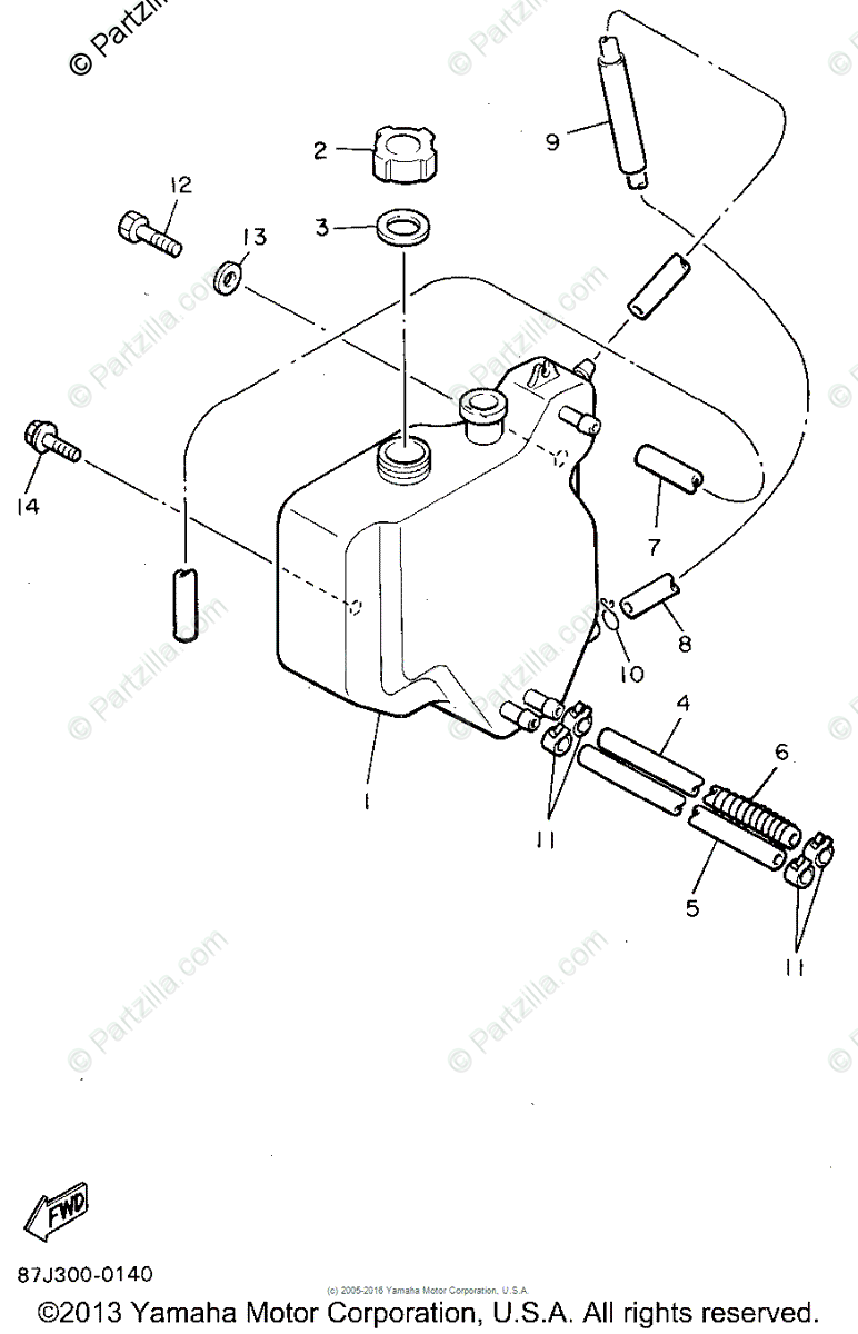 Yamaha Snowmobile 1995 OEM Parts Diagram for Oil Tank
