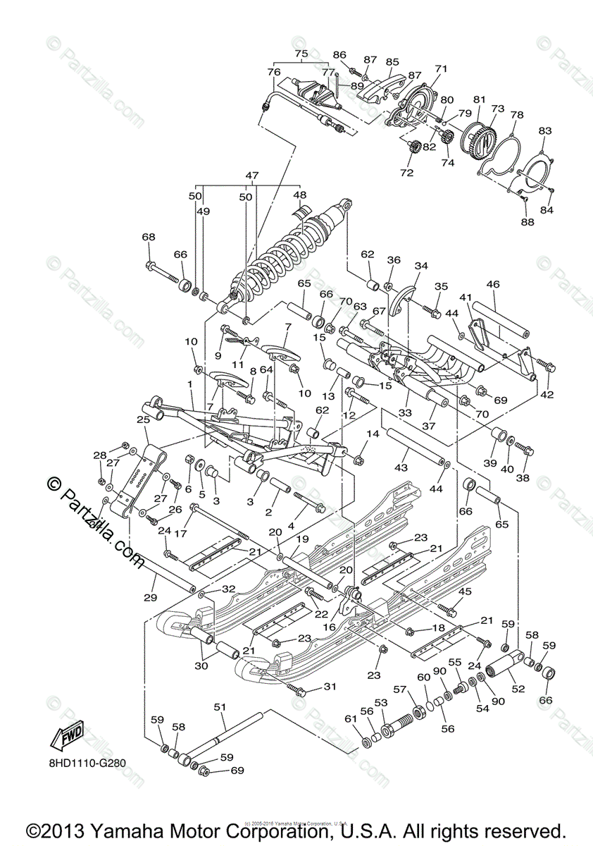 Yamaha Snowmobile 2008 OEM Parts Diagram for Track