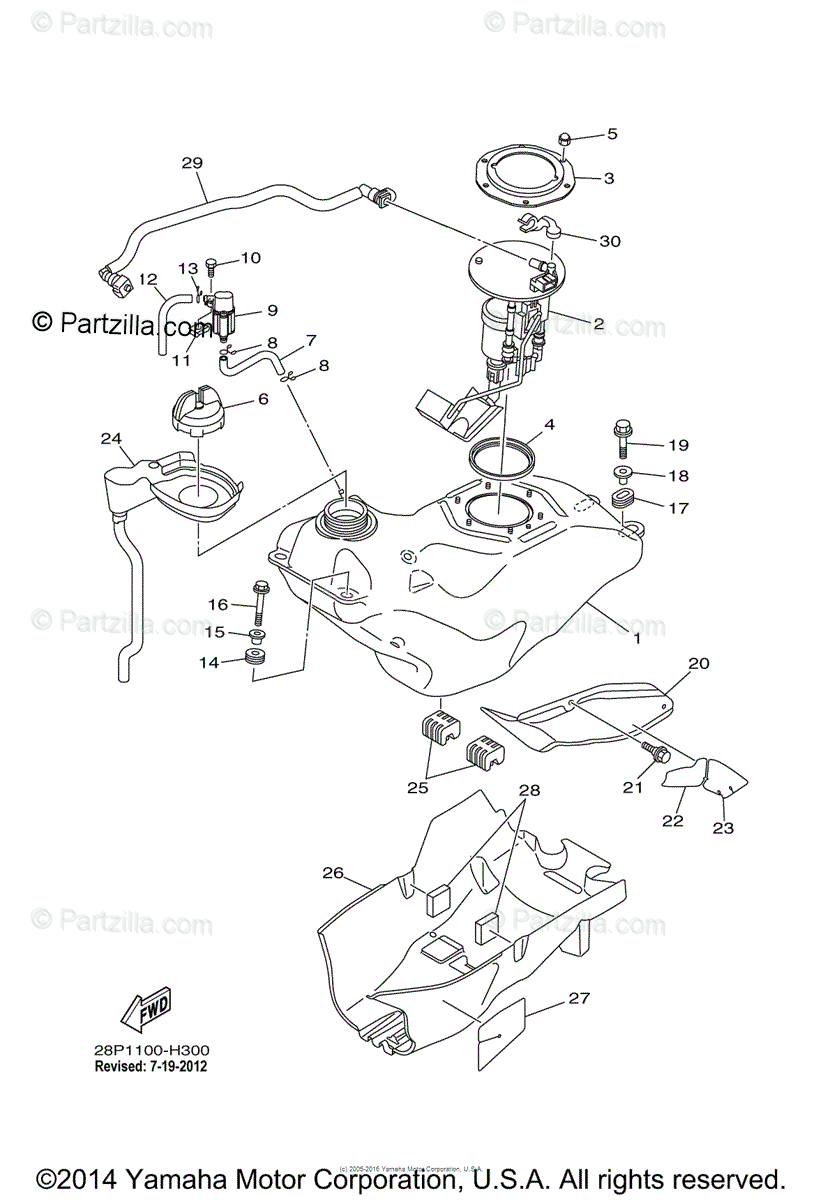 Yamaha ATV 2010 OEM Parts Diagram for Fuel Tank