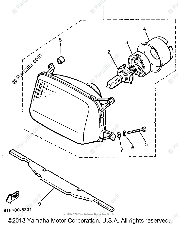 Yamaha Snowmobile 1991 OEM Parts Diagram for Headlight