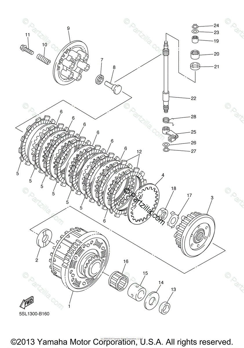 Yamaha Motorcycle 2003 OEM Parts Diagram for Clutch