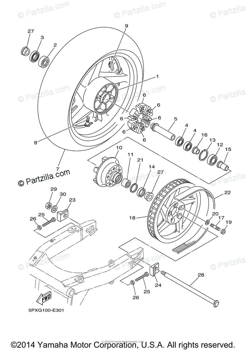 Yamaha Motorcycle 2008 OEM Parts Diagram for Rear Wheel