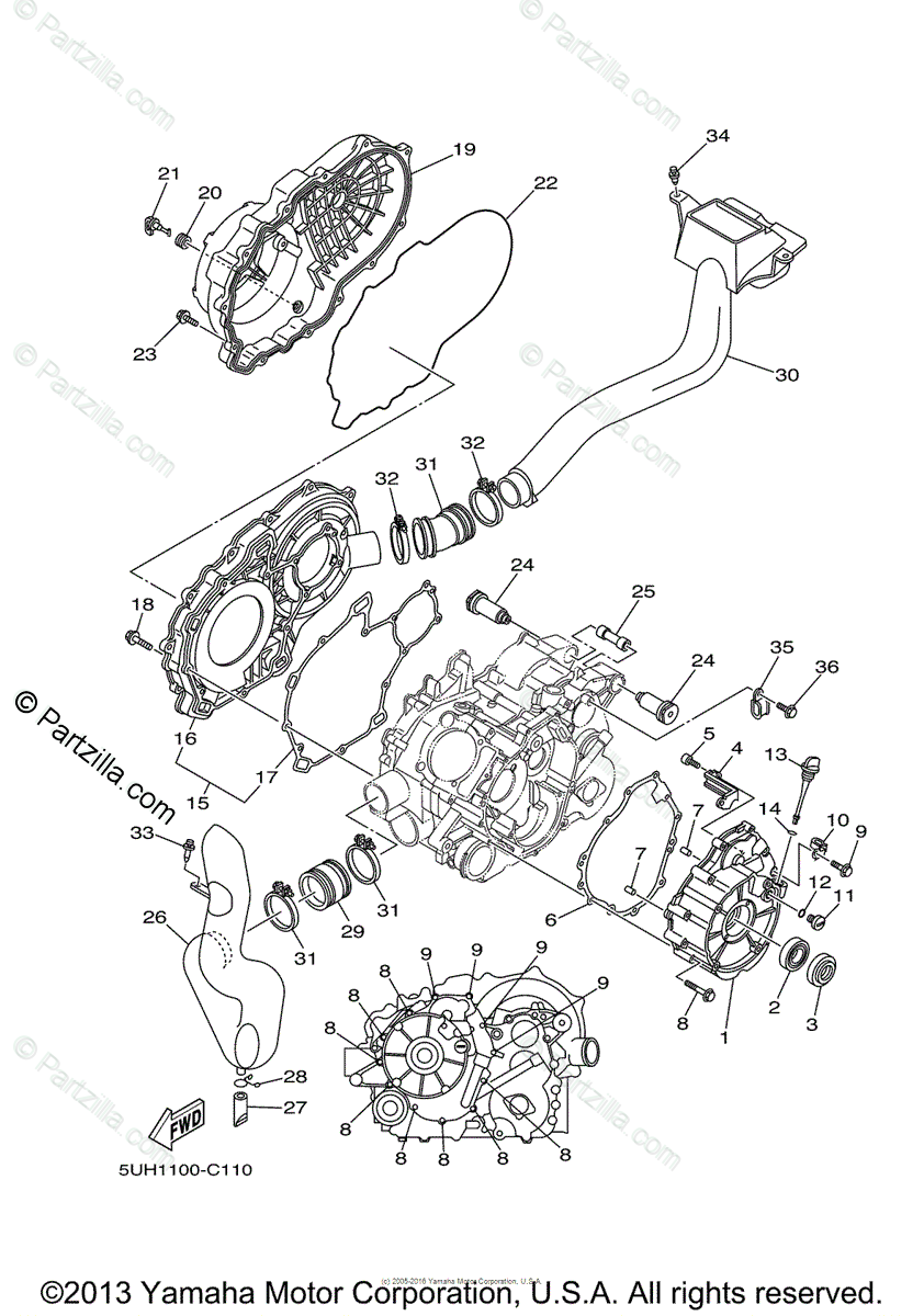 Yamaha ATV 2004 OEM Parts Diagram for Crankcase Cover (1