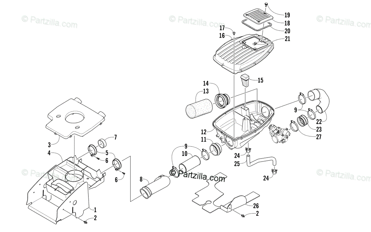 Arctic Cat ATV 2010 OEM Parts Diagram for Air Intake