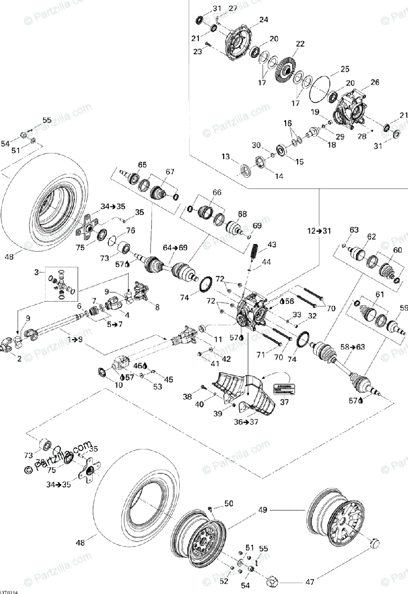 Can-Am ATV 2007 OEM Parts Diagram for Drive System, Rear
