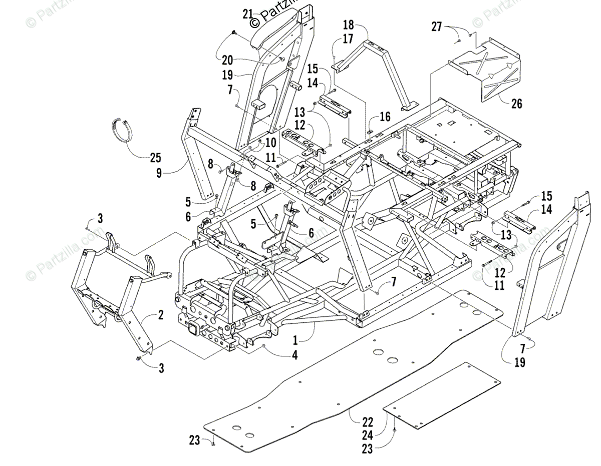 Arctic Cat Side by Side 2007 OEM Parts Diagram for Frame