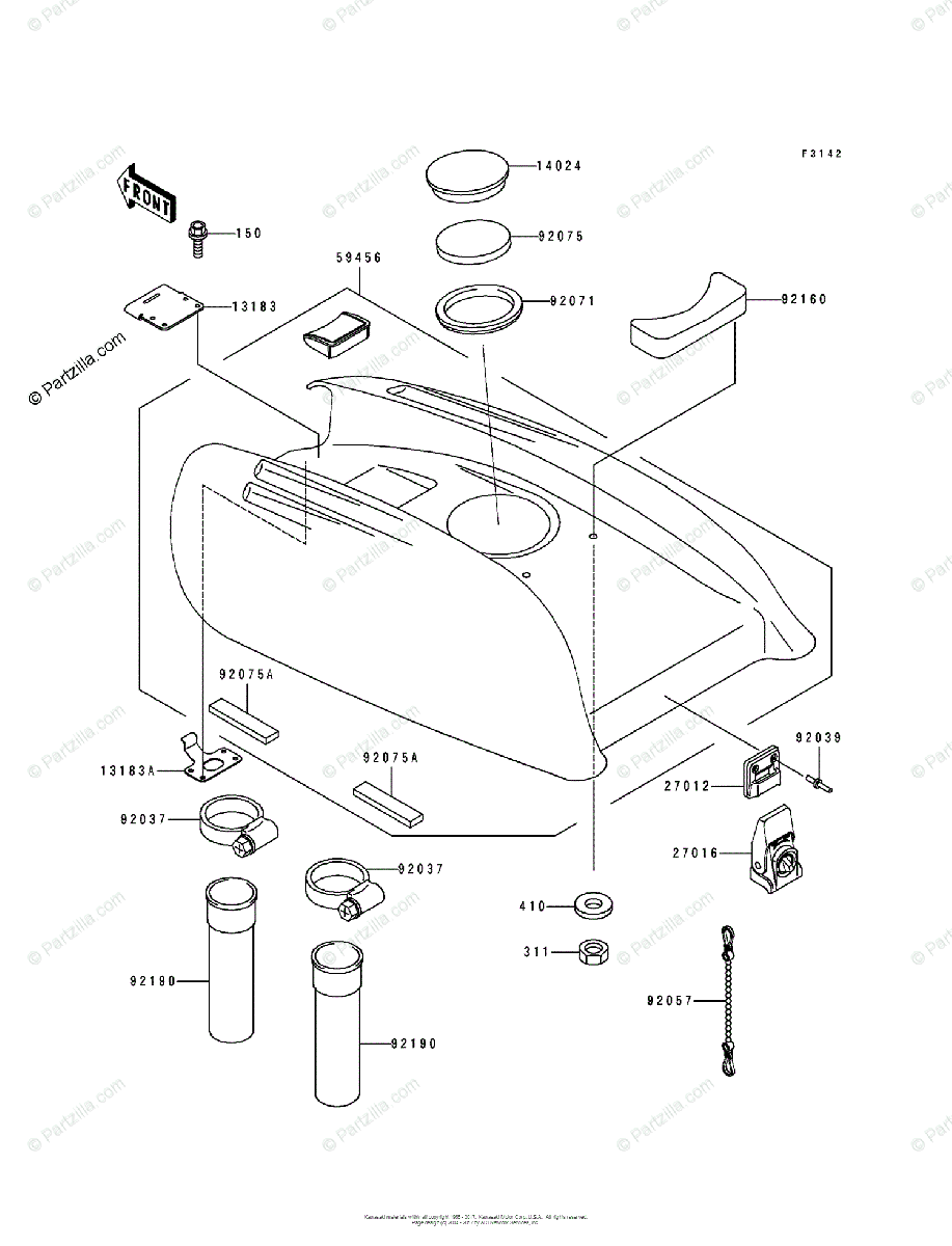Kawasaki Jet Ski 1994 OEM Parts Diagram for Engine Hood
