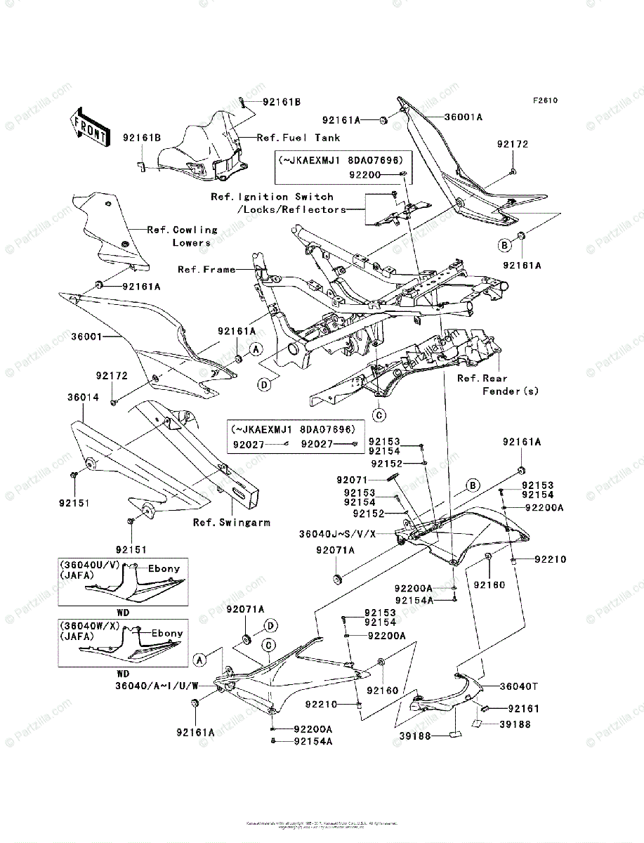 Kawasaki Motorcycle 2009 OEM Parts Diagram for Side Covers