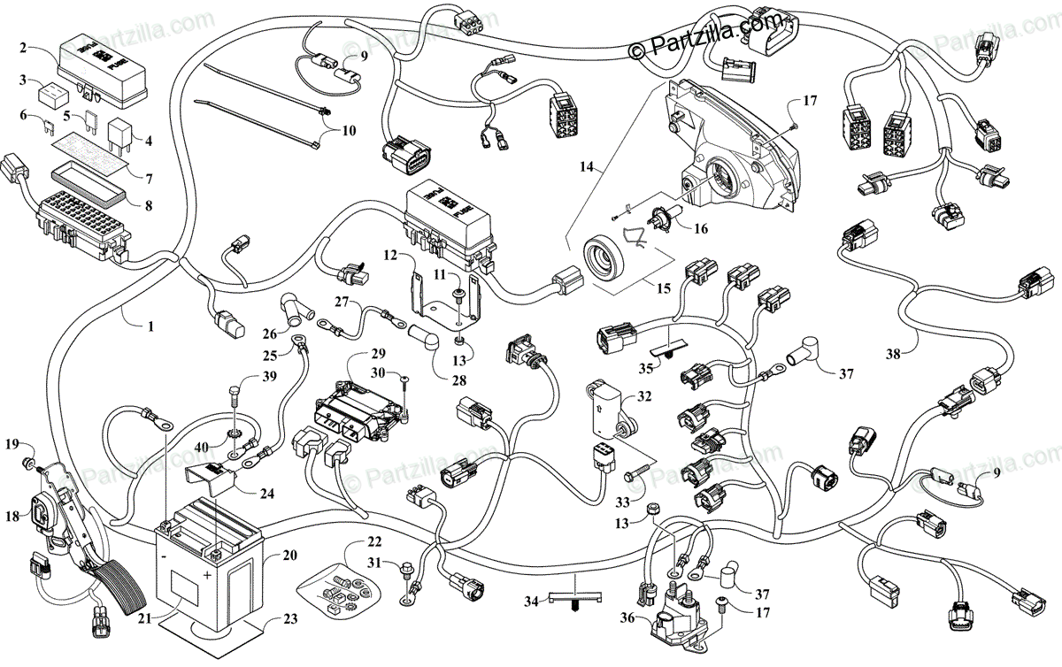 Arctic Cat Side by Side 2020 OEM Parts Diagram for WIRE