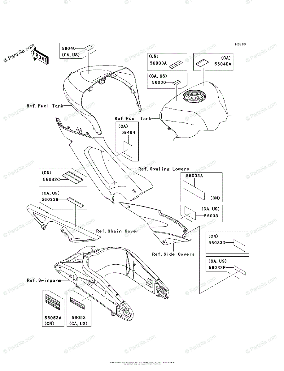 Kawasaki Motorcycle 2005 OEM Parts Diagram for Labels