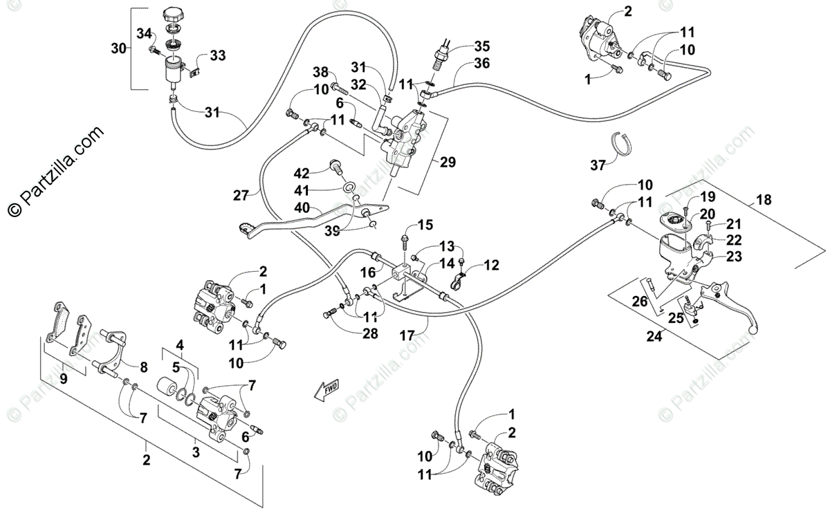 Arctic Cat ATV 2013 OEM Parts Diagram for Hydraulic Brake